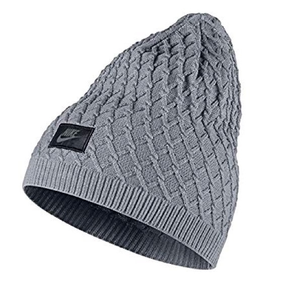 0a3cb73531a Nike UNISEX Cable Knit Beanie Grey One size